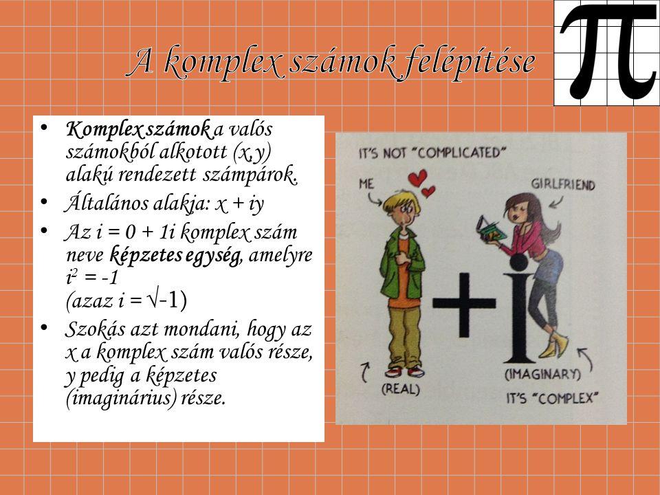 Komplex számok a valós számokból alkotott (x,y) alakú rendezett számpárok. Általános alakja: x + iy Az i = 0 + 1i komplex szám neve képzetes egység, a