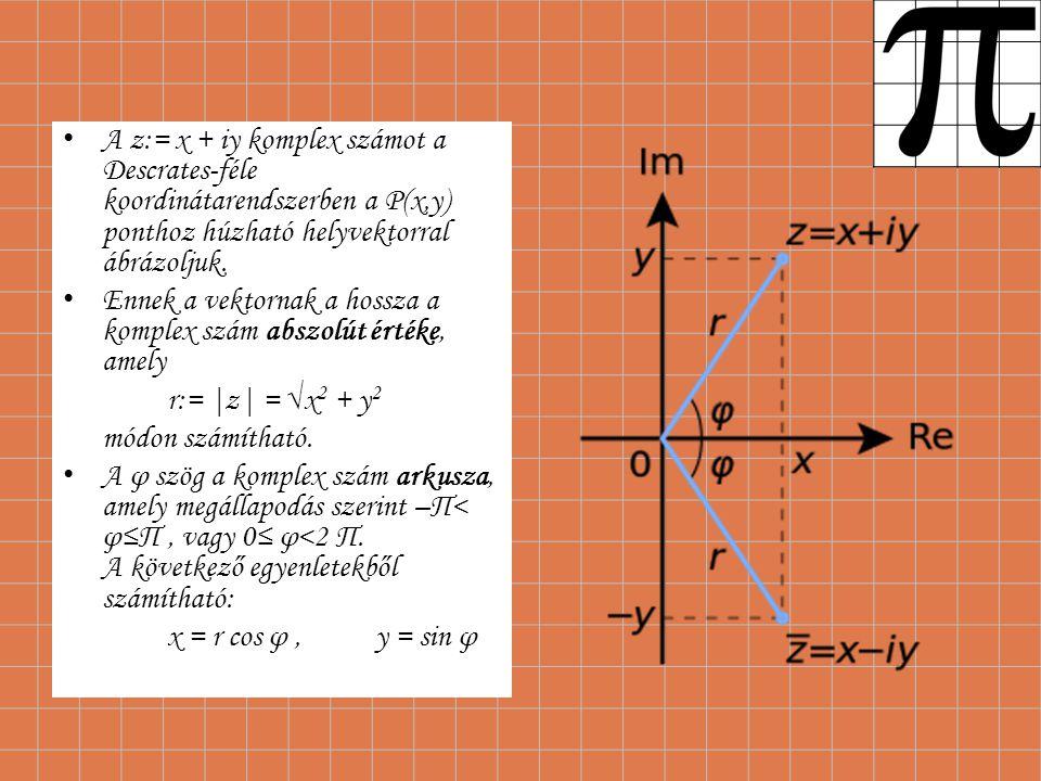 A z:= x + iy komplex számot a Descrates-féle koordinátarendszerben a P(x,y) ponthoz húzható helyvektorral ábrázoljuk. Ennek a vektornak a hossza a kom