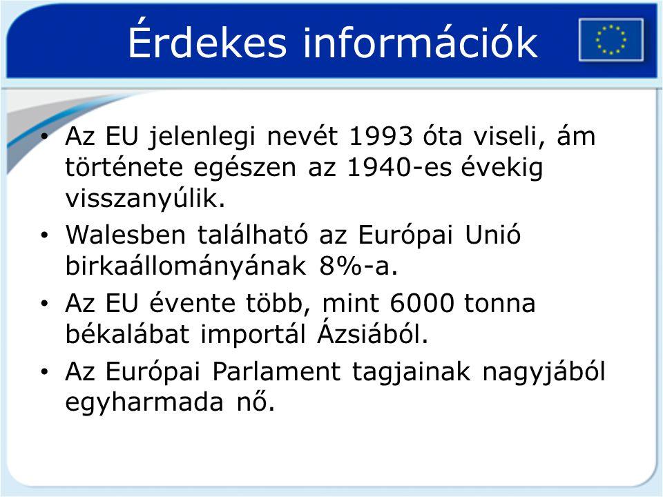 Érdekes információk Az EU jelenlegi nevét 1993 óta viseli, ám története egészen az 1940-es évekig visszanyúlik. Walesben található az Európai Unió bir