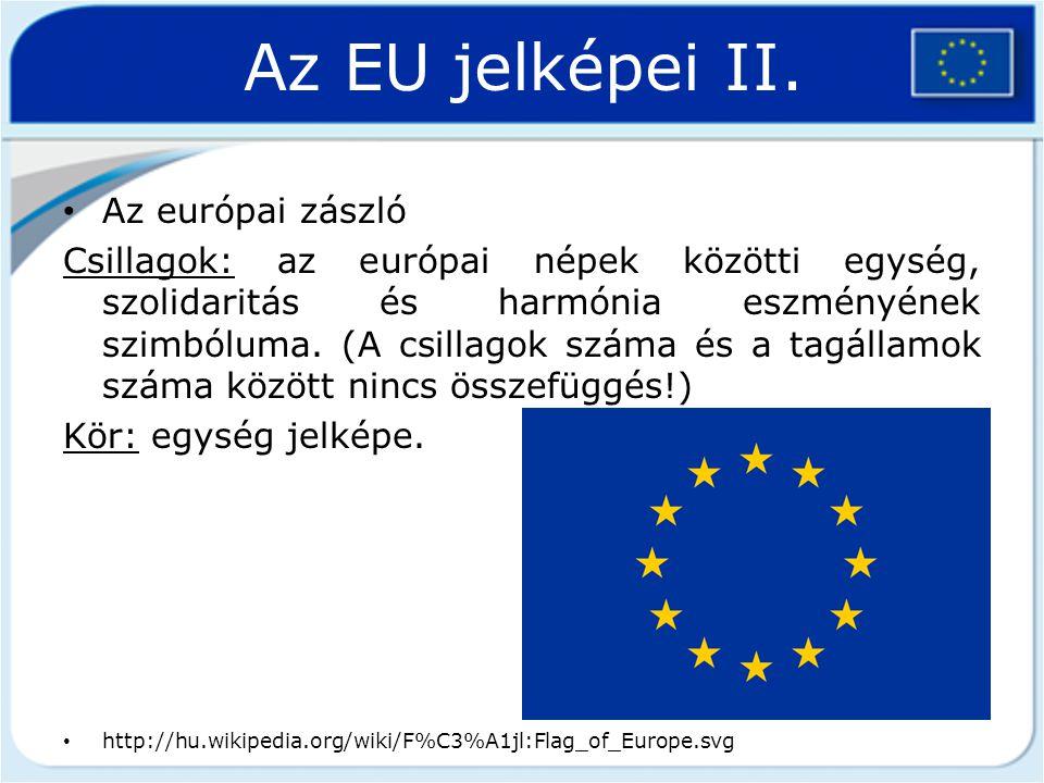 Az EU jelképei II. Az európai zászló Csillagok: az európai népek közötti egység, szolidaritás és harmónia eszményének szimbóluma. (A csillagok száma é