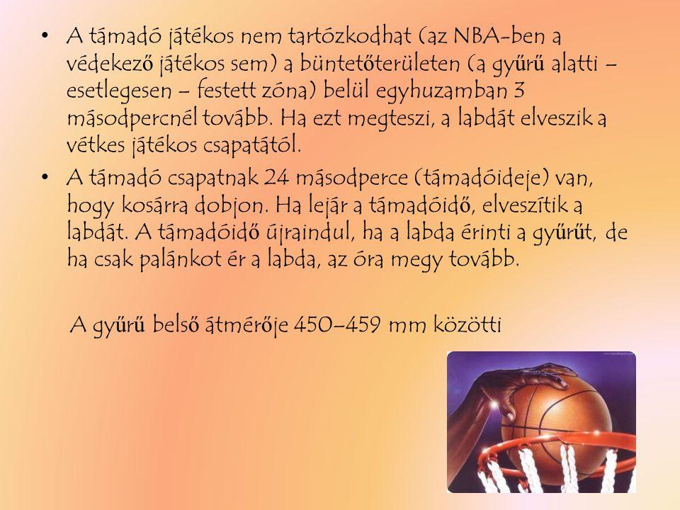 A támadó játékos nem tartózkodhat (az NBA-ben a védekez ő játékos sem) a büntet ő területen (a gy ű r ű alatti – esetlegesen – festett zóna) belül egyhuzamban 3 másodpercnél tovább.