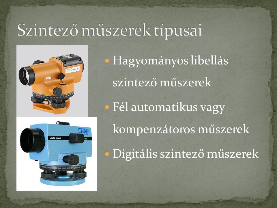 Hagyományos libellás szintező műszerek Fél automatikus vagy kompenzátoros műszerek Digitális szintező műszerek