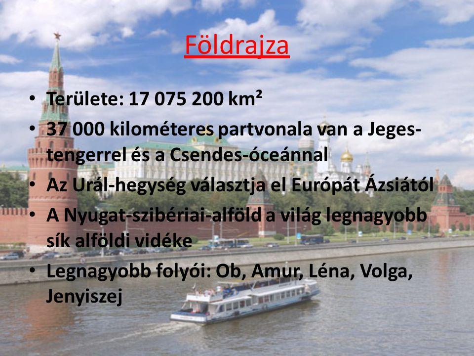 Földrajza Területe: 17 075 200 km² 37 000 kilométeres partvonala van a Jeges- tengerrel és a Csendes-óceánnal Az Urál-hegység választja el Európát Ázsiától A Nyugat-szibériai-alföld a világ legnagyobb sík alföldi vidéke Legnagyobb folyói: Ob, Amur, Léna, Volga, Jenyiszej