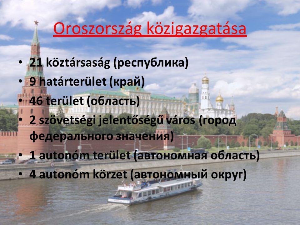 Oroszország közigazgatása 21 köztársaság (республика) 9 határterület (край) 46 terület (область) 2 szövetségi jelentőségű város (город федерального зн