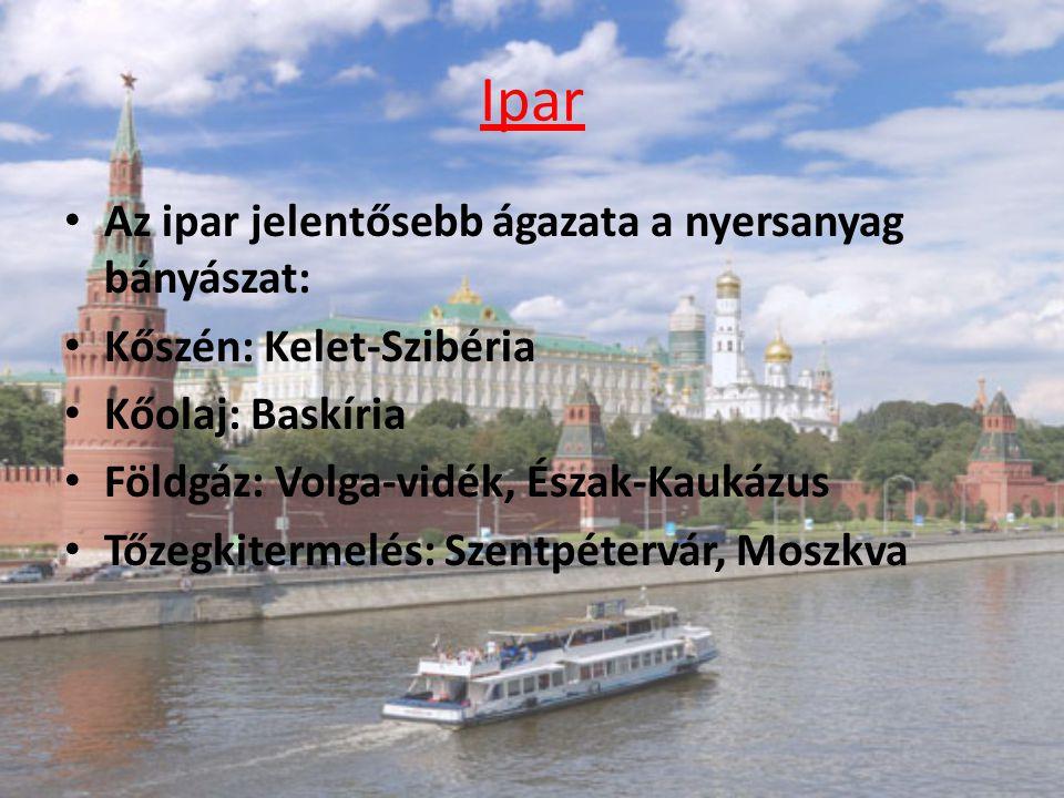 Ipar Az ipar jelentősebb ágazata a nyersanyag bányászat: Kőszén: Kelet-Szibéria Kőolaj: Baskíria Földgáz: Volga-vidék, Észak-Kaukázus Tőzegkitermelés: