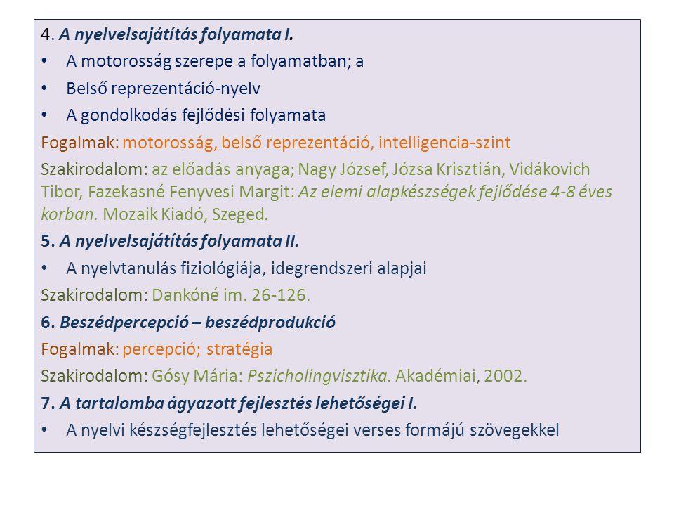 4. A nyelvelsajátítás folyamata I. A motorosság szerepe a folyamatban; a Belső reprezentáció-nyelv A gondolkodás fejlődési folyamata Fogalmak: motoros
