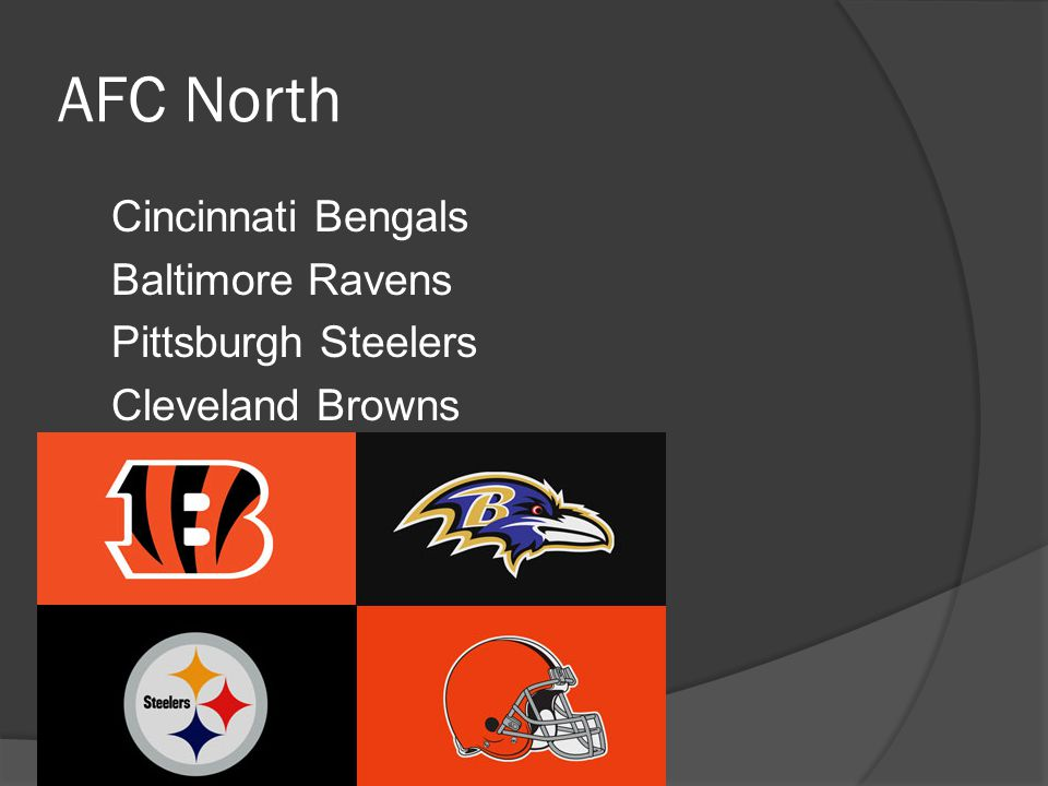 AFC North Cincinnati Bengals Baltimore Ravens Pittsburgh Steelers Cleveland Browns