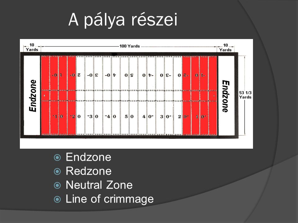 A pálya részei  Endzone  Redzone  Neutral Zone  Line of crimmage