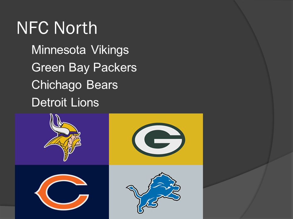 NFC North Minnesota Vikings Green Bay Packers Chichago Bears Detroit Lions
