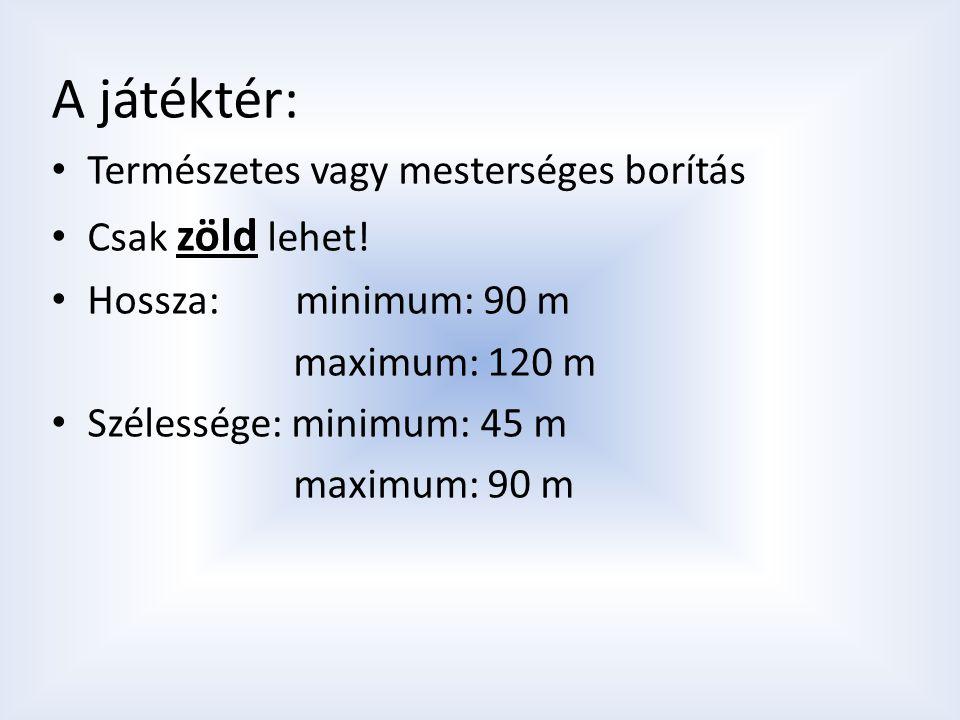 A játéktér: Természetes vagy mesterséges borítás Csak zöld lehet! Hossza: minimum: 90 m maximum: 120 m Szélessége: minimum: 45 m maximum: 90 m