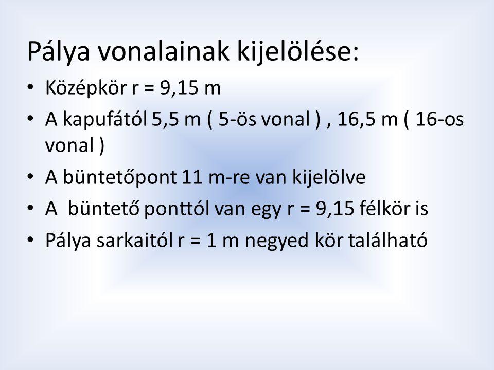 Pálya vonalainak kijelölése: Középkör r = 9,15 m A kapufától 5,5 m ( 5-ös vonal ), 16,5 m ( 16-os vonal ) A büntetőpont 11 m-re van kijelölve A büntet