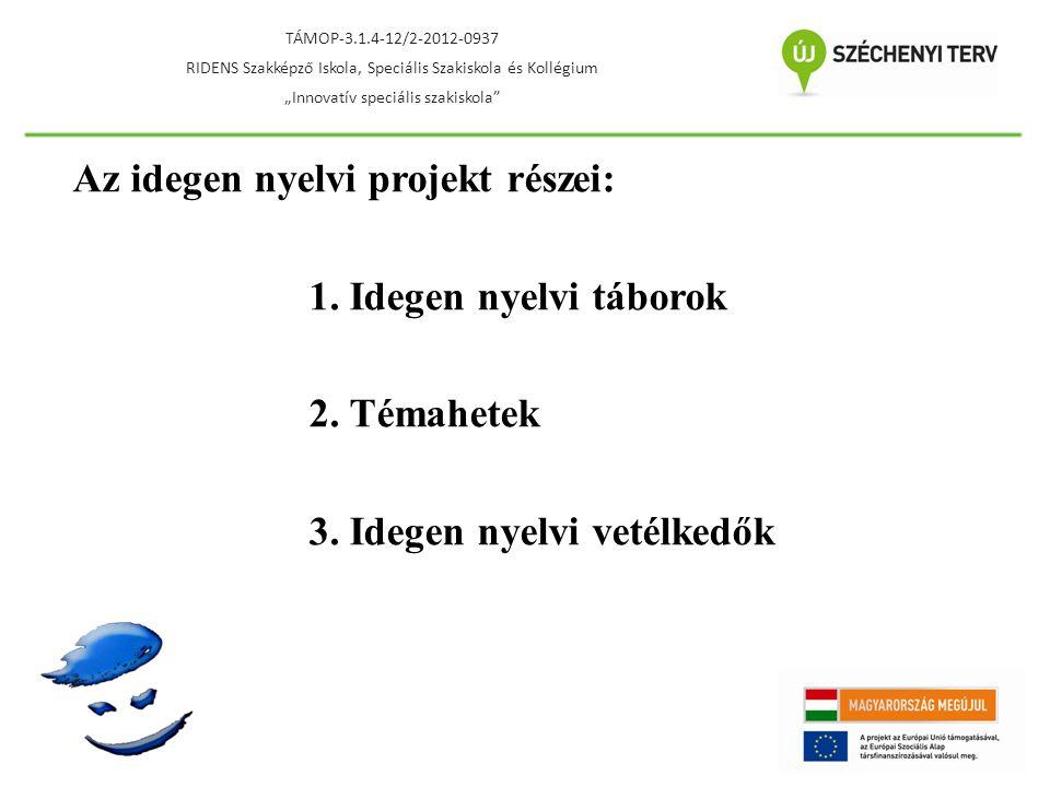 """Idegen nyelvi táborok - 4 x 7 nap - célnyelvi országokban - naponta nyelvórák - a hagyományos tanórai keretek feloldása Cél: - idegen nyelv alkalmazása a gyakorlatban - idegen nyelvi kompetenciák fejlesztése - a célnyelvi országok megismerése - motiválás TÁMOP-3.1.4-12/2-2012-0937 RIDENS Szakképző Iskola, Speciális Szakiskola és Kollégium """"Innovatív speciális szakiskola"""