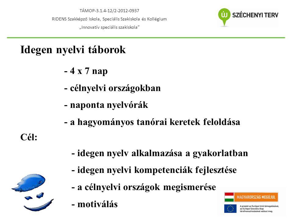 """Idegen nyelvi témahetek - 5 tanítási hét - napi két nyelvóra - kapcsolódás a nyelvi táborokban tanultakhoz - ország ismeret - komplex témafeldolgozás Cél: - idegen nyelv alkalmazása a gyakorlatban - idegen nyelvi kompetenciák fejlesztése - a célnyelvi országok megismerése - motiválás TÁMOP-3.1.4-12/2-2012-0937 RIDENS Szakképző Iskola, Speciális Szakiskola és Kollégium """"Innovatív speciális szakiskola"""