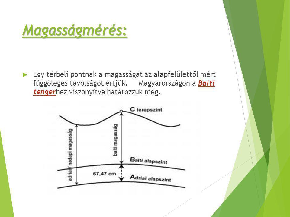 Magasságmérés:  Egy térbeli pontnak a magasságát az alapfelülettől mért függőleges távolságot értjük. Magyarországon a Balti tengerhez viszonyítva ha