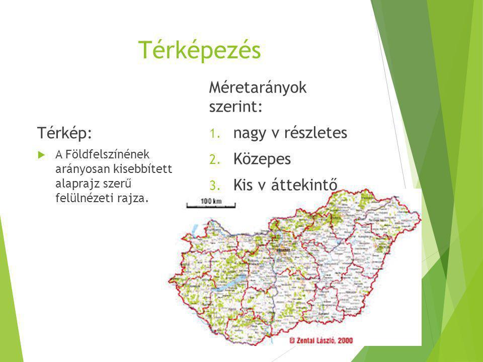 Térképezés Térkép:  A Földfelszínének arányosan kisebbített alaprajz szerű felülnézeti rajza. Méretarányok szerint: 1. nagy v részletes 2. Közepes 3.