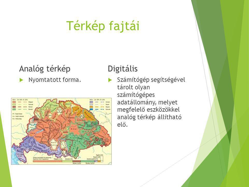 Térkép fajtái Analóg térkép  Nyomtatott forma. Digitális  Számítógép segítségével tárolt olyan számítógépes adatállomány, melyet megfelelő eszközökk