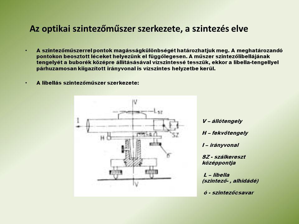 Az optikai szintezőműszer szerkezete, a szintezés elve A szintezőműszerrel pontok magásságkülönbségét határozhatjuk meg. A meghatározandó pontokon beo