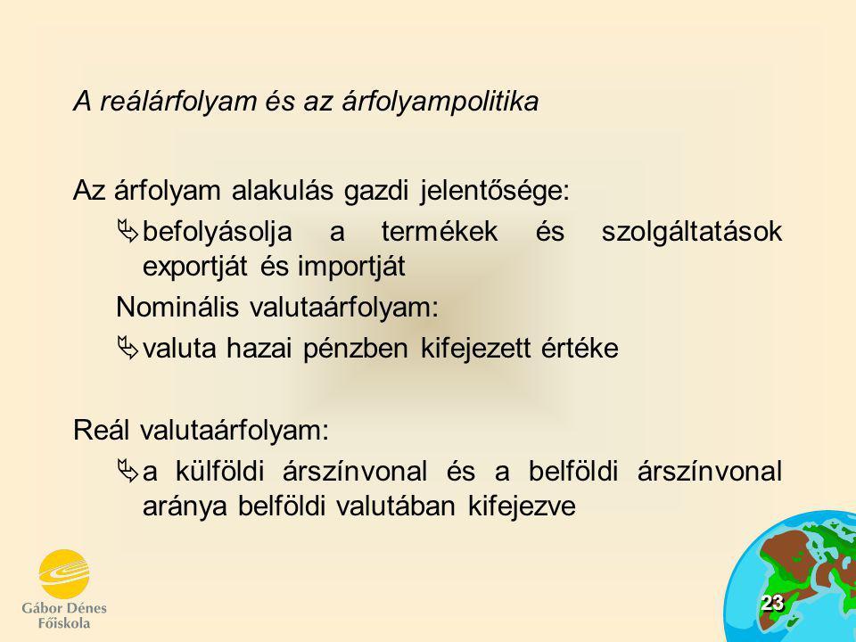 24 ahol r : a reálárfolyam e: a nominális valutaárfolyam P: a hazai Pk.