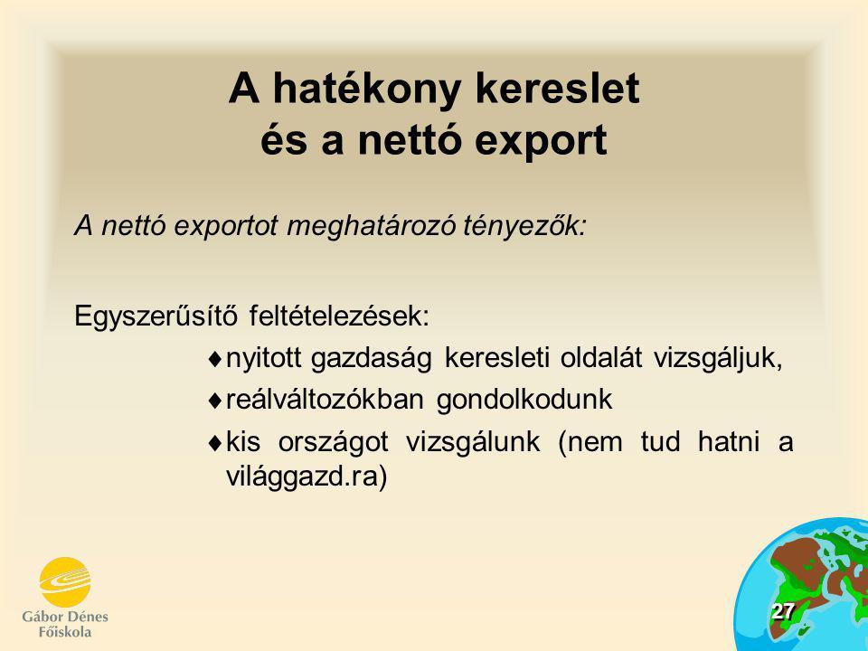 28 Nettó export:  az export és az import különbsége  NX = X-IM Exportot befolyásoló tényezők:  valutaárfolyam,  külföldi nemzeti jövedelem,  külföld külgazd.-i politikája  állami exporttámogatás
