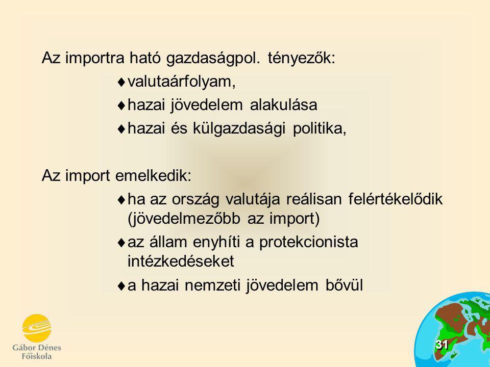 31 Az importra ható gazdaságpol. tényezők:  valutaárfolyam,  hazai jövedelem alakulása  hazai és külgazdasági politika, Az import emelkedik:  ha a
