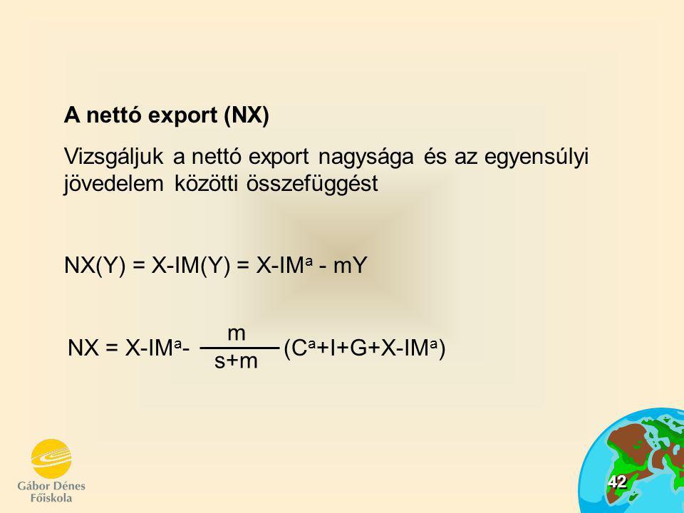43 = = =  NX  G  NX  C a  NX  I m s+m A nettó export multiplikátora megmutatja:  egy autonóm tényező egységnyi növelése mekkora NX növekményt idéz elő  értéke negatív (C a, I, G, növekedése csökkenti a NX egyenlegét)  abszolút értéke kisebb 1.nél  hatásmechanizmus: pl.