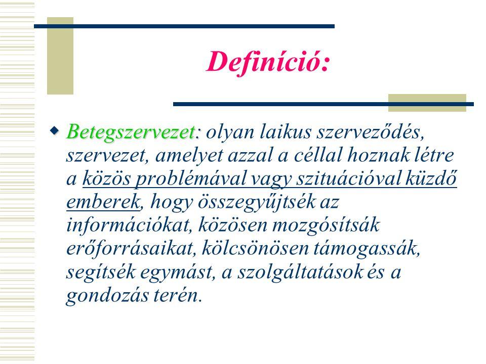 Definíció:  Betegszervezet:  Betegszervezet: olyan laikus szerveződés, szervezet, amelyet azzal a céllal hoznak létre a közös problémával vagy szituációval küzdő emberek, hogy összegyűjtsék az információkat, közösen mozgósítsák erőforrásaikat, kölcsönösen támogassák, segítsék egymást, a szolgáltatások és a gondozás terén.