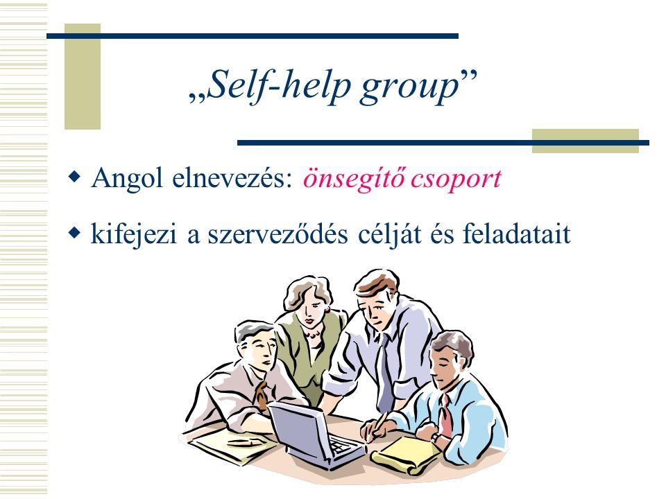 """""""Self-help group""""  Angol elnevezés: önsegítő csoport  kifejezi a szerveződés célját és feladatait"""