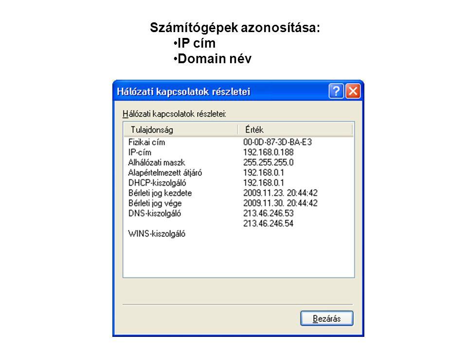 Számítógépek azonosítása: IP cím Domain név