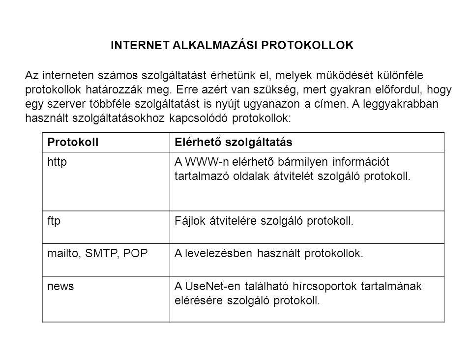 INTERNET ALKALMAZÁSI PROTOKOLLOK Az interneten számos szolgáltatást érhetünk el, melyek működését különféle protokollok határozzák meg.