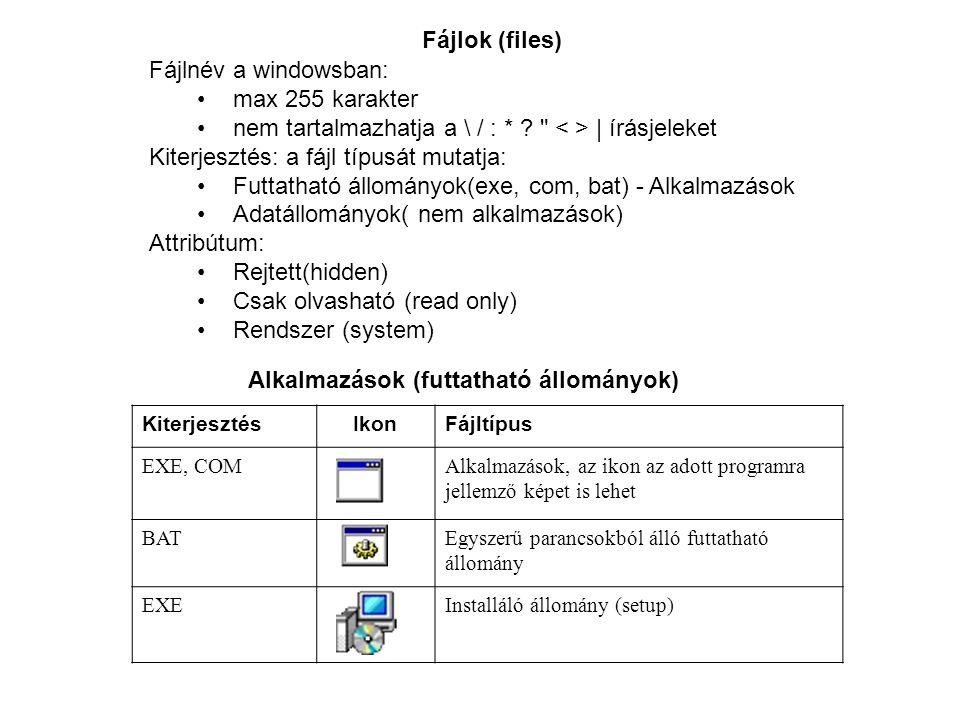 Fájlok (files) Fájlnév a windowsban: max 255 karakter nem tartalmazhatja a \ / : * ?