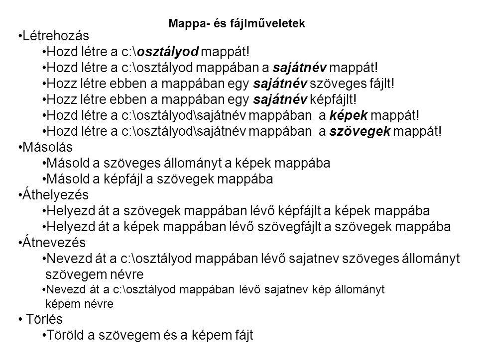 Mappa- és fájlműveletek Létrehozás Hozd létre a c:\osztályod mappát! Hozd létre a c:\osztályod mappában a sajátnév mappát! Hozz létre ebben a mappában