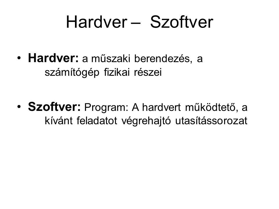 Hardver – Szoftver Hardver: a műszaki berendezés, a számítógép fizikai részei Szoftver: Program: A hardvert működtető, a kívánt feladatot végrehajtó u