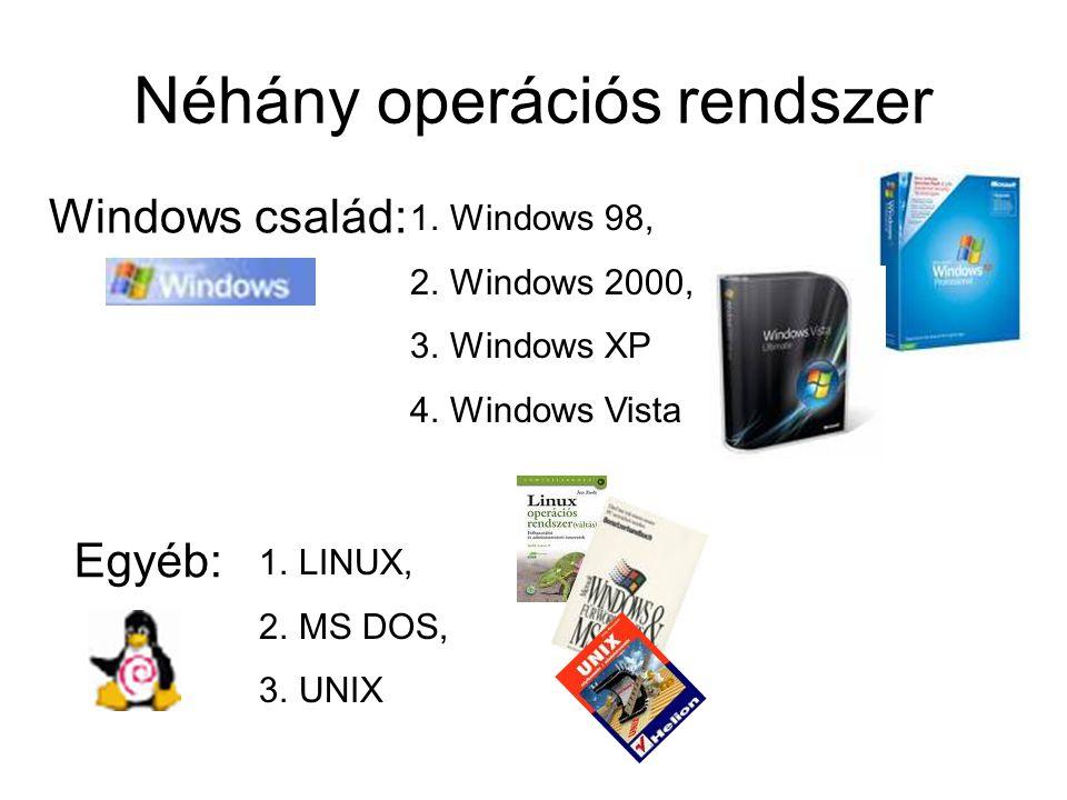 Néhány operációs rendszer Windows család: Egyéb: 1.LINUX, 2.MS DOS, 3.UNIX 1.Windows 98, 2.Windows 2000, 3.Windows XP 4.Windows Vista