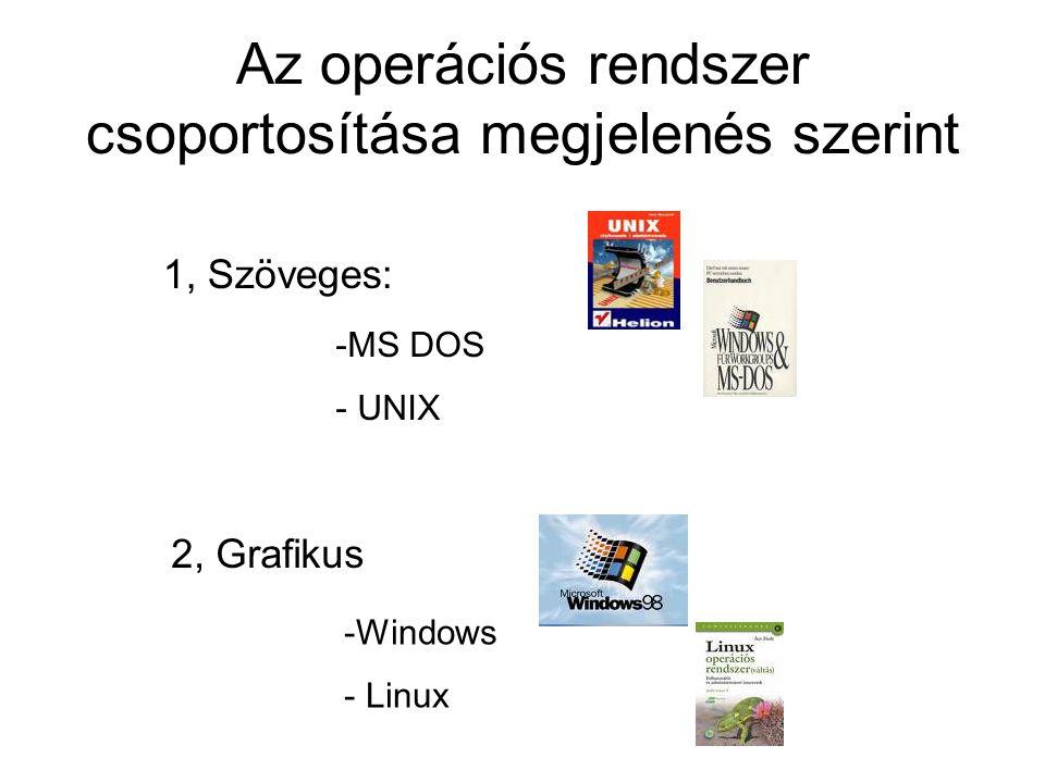 Az operációs rendszer csoportosítása megjelenés szerint 2, Grafikus 1, Szöveges: -M-MS DOS - UNIX -W-Windows - Linux