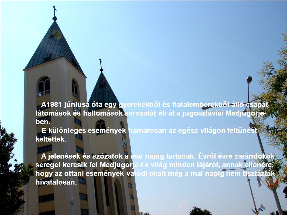 A1981 júniusa óta egy gyerekekből és fiatalemberekből álló csapat látomások és hallomások sorozatát éli át a jugoszláviai Medjugorje- ben. E különlege
