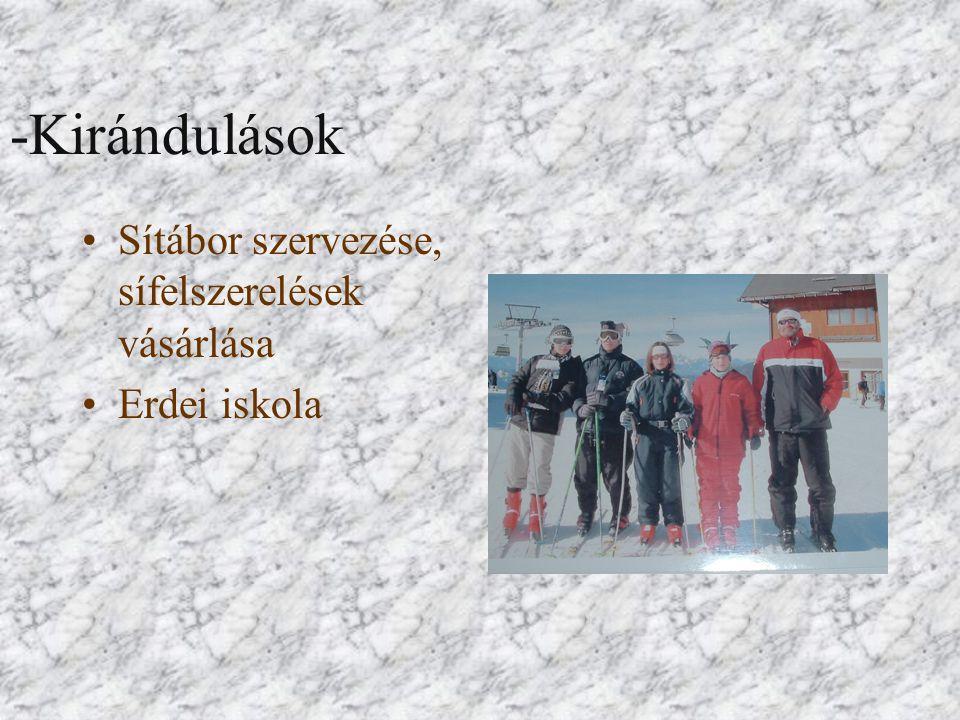 -Kirándulások Sítábor szervezése, sífelszerelések vásárlása Erdei iskola