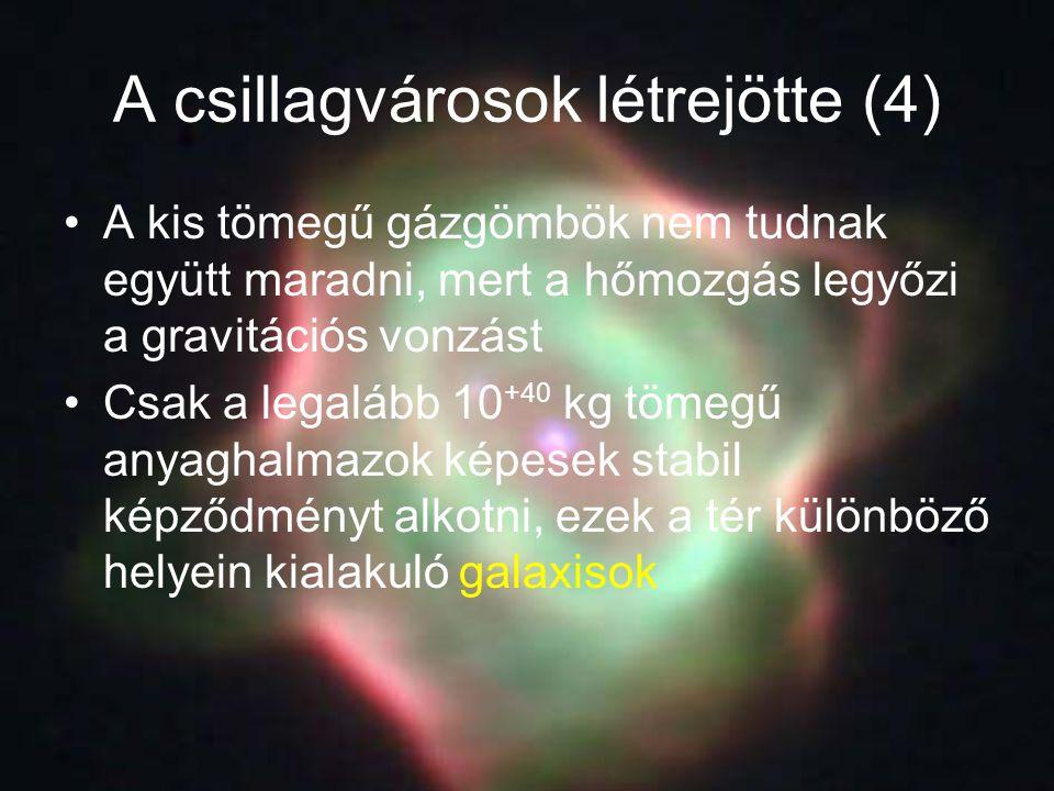 A csillagvárosok létrejötte (4) A kis tömegű gázgömbök nem tudnak együtt maradni, mert a hőmozgás legyőzi a gravitációs vonzást Csak a legalább 10 +40
