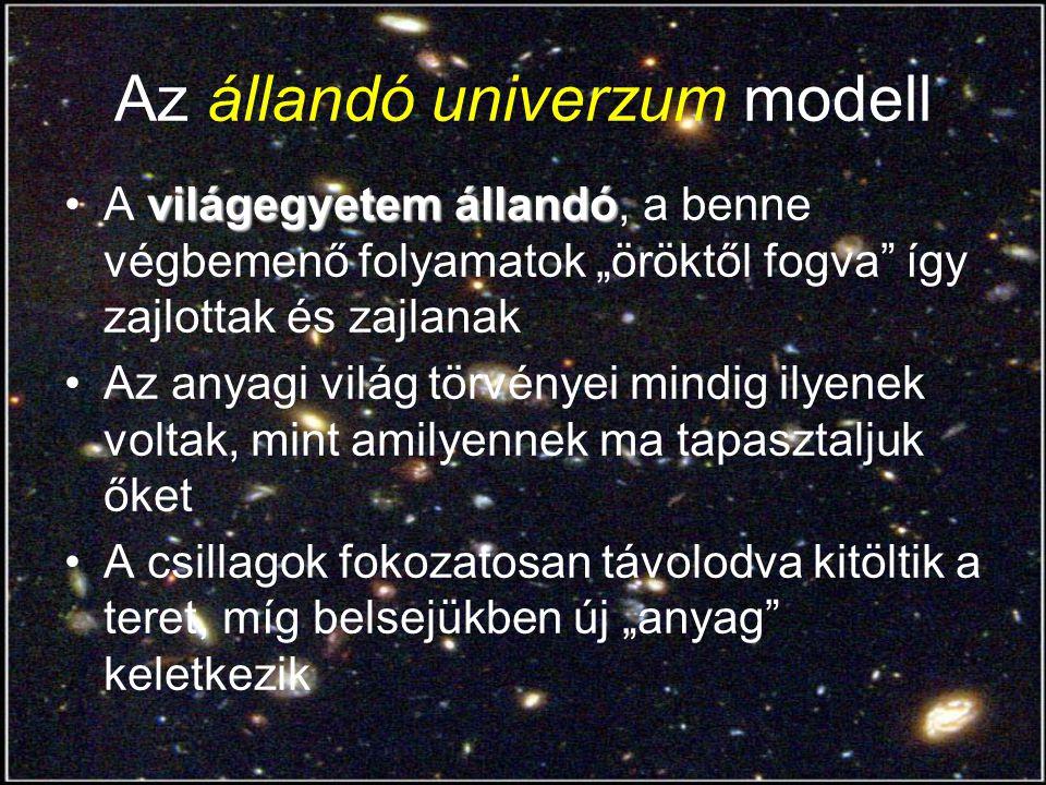 """A táguló világegyetem modell (1) kozmosz tágulA kozmosz tágul, a galaxisok távolodnak tőlünk (és egymástól), méghozzá a távolságukkal arányos sebességgel A tágulás középpontja vagy a Naprendszer, vagy """"nincs középpontja a ma érzékelhető világban A világ egy 10 -30 méter """"kicsinységű pontból tágult ki a mai állapotába"""