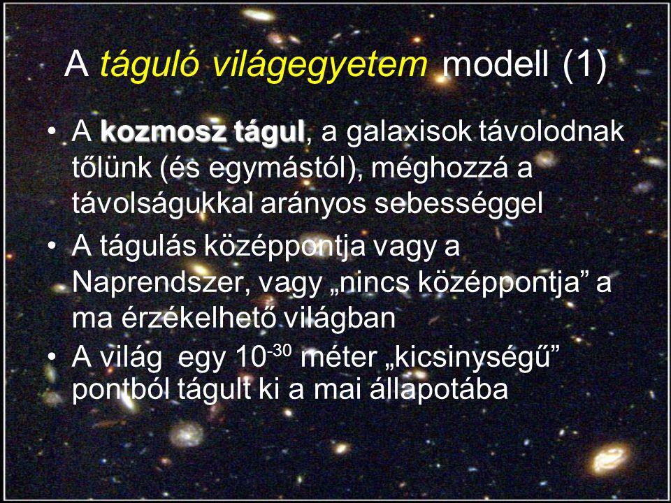 A táguló világegyetem modell (1) kozmosz tágulA kozmosz tágul, a galaxisok távolodnak tőlünk (és egymástól), méghozzá a távolságukkal arányos sebesség