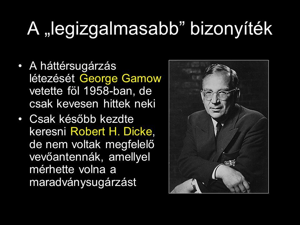 """A """"legizgalmasabb"""" bizonyíték A háttérsugárzás létezését George Gamow vetette föl 1958-ban, de csak kevesen hittek neki Csak később kezdte keresni Rob"""