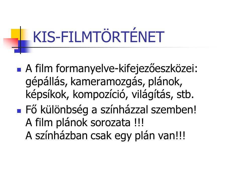 KIS-FILMTÖRTÉNET A film formanyelve-kifejezőeszközei: gépállás, kameramozgás, plánok, képsíkok, kompozíció, világítás, stb. Fő különbség a színházzal
