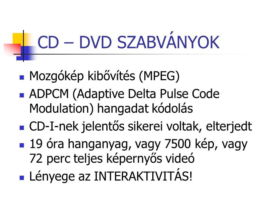 CD – DVD SZABVÁNYOK Mozgókép kibővítés (MPEG) ADPCM (Adaptive Delta Pulse Code Modulation) hangadat kódolás CD-I-nek jelentős sikerei voltak, elterjed