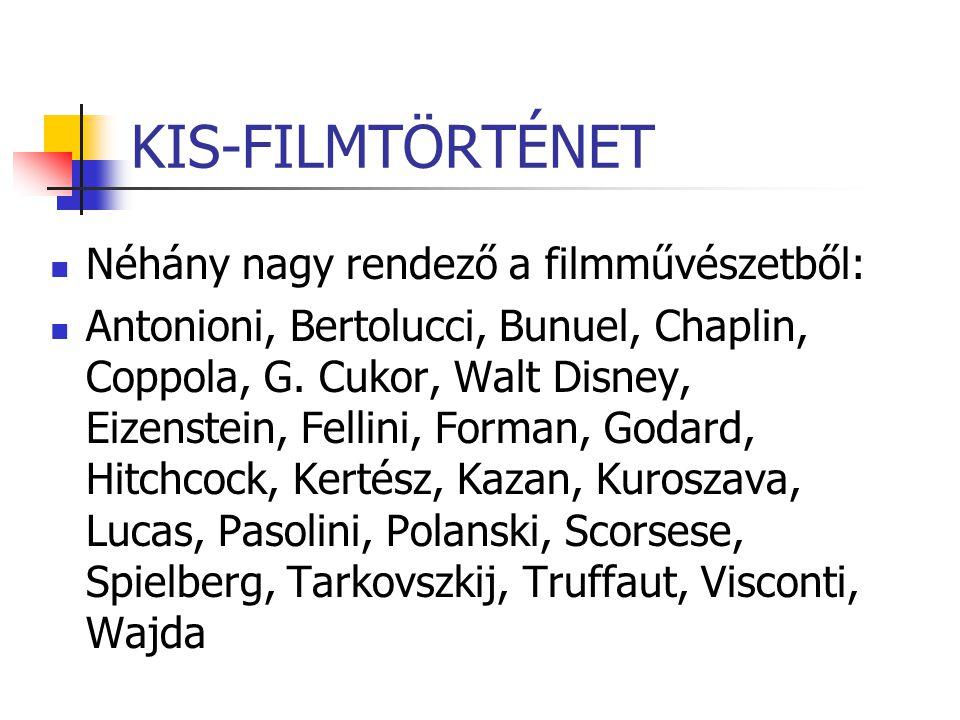 KIS-FILMTÖRTÉNET Néhány nagy rendező a filmművészetből: Antonioni, Bertolucci, Bunuel, Chaplin, Coppola, G. Cukor, Walt Disney, Eizenstein, Fellini, F