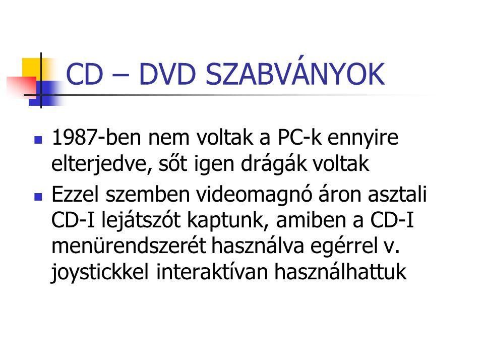 CD – DVD SZABVÁNYOK 1987-ben nem voltak a PC-k ennyire elterjedve, sőt igen drágák voltak Ezzel szemben videomagnó áron asztali CD-I lejátszót kaptunk