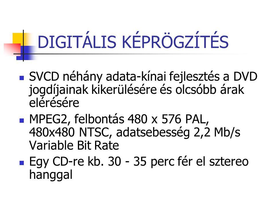 DIGITÁLIS KÉPRÖGZÍTÉS SVCD néhány adata-kínai fejlesztés a DVD jogdíjainak kikerülésére és olcsóbb árak elérésére MPEG2, felbontás 480 x 576 PAL, 480x