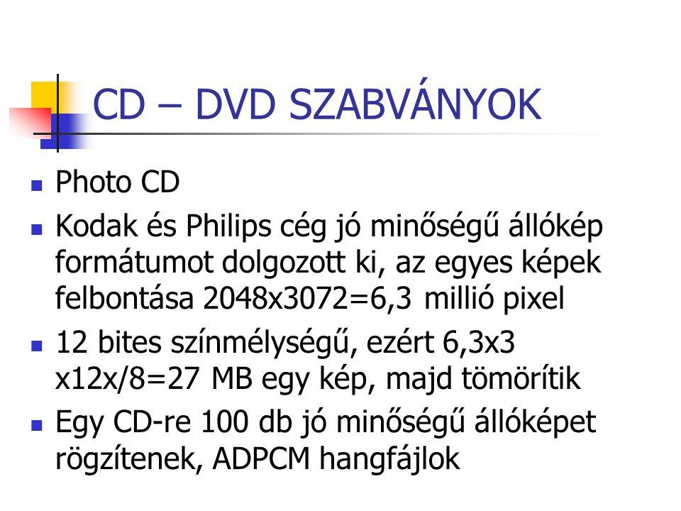 CD – DVD SZABVÁNYOK Photo CD Kodak és Philips cég jó minőségű állókép formátumot dolgozott ki, az egyes képek felbontása 2048x3072=6,3 millió pixel 12