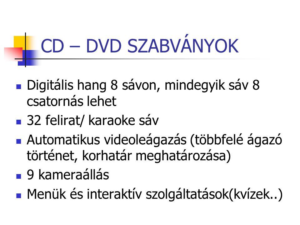 CD – DVD SZABVÁNYOK Digitális hang 8 sávon, mindegyik sáv 8 csatornás lehet 32 felirat/ karaoke sáv Automatikus videoleágazás (többfelé ágazó történet