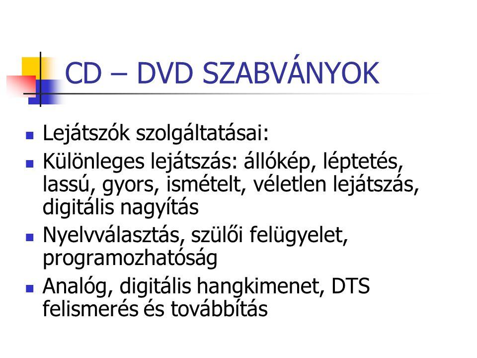 CD – DVD SZABVÁNYOK Lejátszók szolgáltatásai: Különleges lejátszás: állókép, léptetés, lassú, gyors, ismételt, véletlen lejátszás, digitális nagyítás