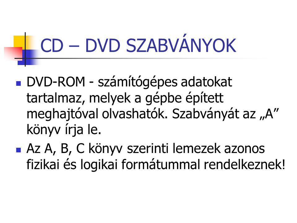 """CD – DVD SZABVÁNYOK DVD-ROM - számítógépes adatokat tartalmaz, melyek a gépbe épített meghajtóval olvashatók. Szabványát az """"A"""" könyv írja le. Az A, B"""