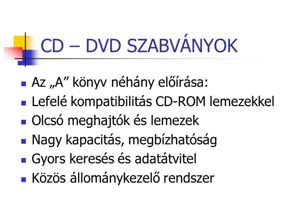 """CD – DVD SZABVÁNYOK Az """"A"""" könyv néhány előírása: Lefelé kompatibilitás CD-ROM lemezekkel Olcsó meghajtók és lemezek Nagy kapacitás, megbízhatóság Gyo"""